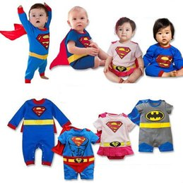 Wholesale Spiderman Embroidered - 2016 baby boy clothes Kids Clothing Jumpsuits and Rompers Romper Superman Spiderman Batman with cloak embroidered Monkey King 464