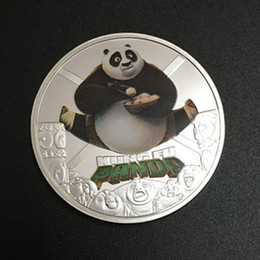 Wholesale Silver Panda Wholesale - 20 pcs lot , Rare Hollywood Movie star Chinese Kungfu Panda cartoon animal silver plated Kung Fu souvenir replica coin