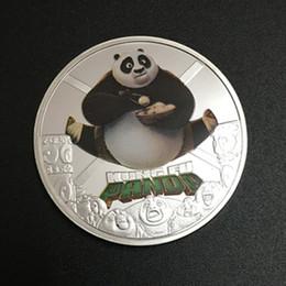 Wholesale Silver Panda Wholesale - 20 pcs lot , Rare Hollywood Movie star Chinese Kungfu Panda cartoon animal silver plated Kung Fu souvenir replica coin