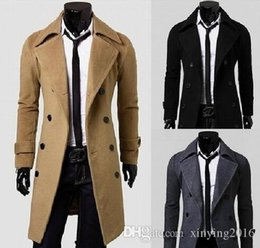 Wholesale Casual Trench Coats - Winter Men Long Pea Coats Brand Plus Size Men Double Breasted Wool Coats Turn Down Collar Men Trench Coat LJY20