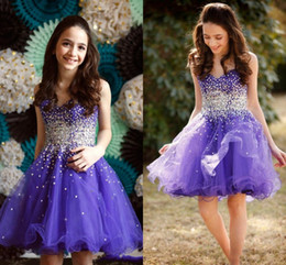 Vestidos de baile rorosa roffle on-line-Roxo Querida Sparkly Frisado Homecoming Vestidos 2017 Na Altura Do Joelho Organza Ruffles Meninas Pageant Vestidos Curtos Prom Cocktail Party Vestidos