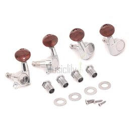 Wholesale Guitar Tuning Buttons - Wholesale- 2R2L Set Ukulele Guitar Sealed String Machine Heads Tuning Pegs Keys Tuners w  Pearl Red Button