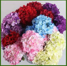 Azul y naranja online-15 CM flor de la hortensia artificial cabeza de diy ramo de la boda flores cabeza guirnalda guirnalda decoración del hogar blanco rojo azul verde naranja púrpura