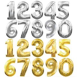 Wholesale Number Props - 32 inch number balloons gold silver Birthday Wedding Party Decoration Foil Balloons photo props Christmas Event festive Supplies GIFT