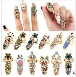 Wholesale Diamond Encrusted - Delicate diamond-encrusted fingernail set tail ring joint ring crown armor accessories,you will love it,shipping free
