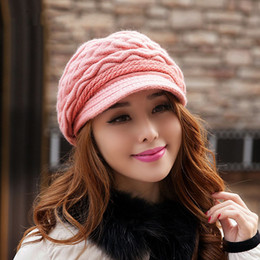Wholesale Woolen Caps For Ladies - Wholesale-2015 Autumn and winter hats for women hair knitted cap hat warm lady Woolen hat wholesale mujer gorras free shipping