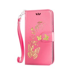 Wholesale Purple Butterfly Iphone Cases - For Iphone 7 Wallet Leather Case Cover Beaitiful Butterfly with Card Slot Photo Frame For Galaxy Note 7 S7 Edge Iphone 6S Plus