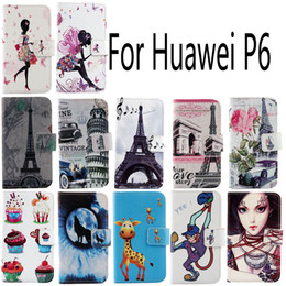 Wholesale Huawei P6 Leather Cover - For Huawei P6 Fashion Protective Cover Skin Pouch With Card Slot PU Leather Case Phone Case