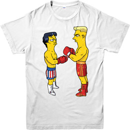 Wholesale Unique Shirts Men - Fashion Unique Classic Cotton Men The Simpons T-Shirt,American sitcom Rocky Balboa Spoof,Adult and kids Sizes