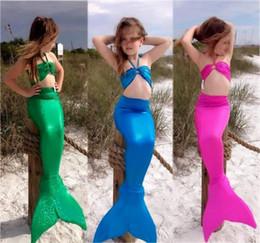 Wholesale Sexy Kids Bikinis - 4 Color Girls sexy Mermaid Tail Swimmable Swimming Costume Swimsuit Bikini Set baby kids 3 pieces set Swimwear suit 3-8Y