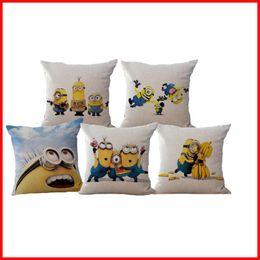 Wholesale Gift Minion - Despicable Me Cute Minions Pillow Case Cotton Linen Cushion covers Throw Pillow cases Home Sofa Bedding Pillowcase Christmas Gift 240373