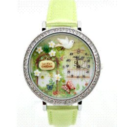 Wholesale Handmade Clay Watches - 2014 Hottest women watches Polymer Clay Handmade Genuine Leather Quartz Korea Mini Watch leather watch leather findings