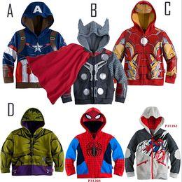 Wholesale Iron Man Baby - .Children Hoodies JACKET BABY Boys Captain America Hoodies Jacket Avengers Hulk thor iron man Superhero cosplay Kids hoodie jacket