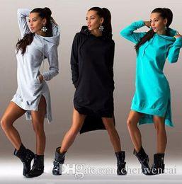 Wholesale Vintage Hooded Sweatshirts - 2016 plus size dresses women Dress Vintage Hoodie Sport Dresses Sexy Split Pockets Casual Loose Sweatshirts Tops Vestidos 6 Colorswomen clot