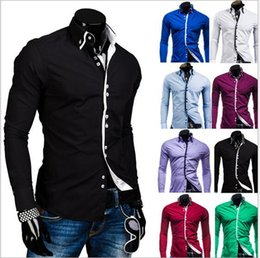 Wholesale Down Collar Double Breasted - Classic Dress Shirts Single-breasted Plus Size Casual Men shirt Men Clothing Double Collar Candy Slim Fit Long-sleeve Shirt Multicolor