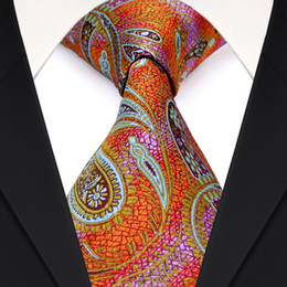 Wholesale Necktie Silk Brand - F1 Paisley Orange Blue Colorful Multicolor Mens Tie Neckties 100% Silk Jacquard Woven Brand New Free Shipping