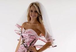 Wholesale Red Hair Nets - Pink Camo Edge Elbow Length Camo Ribbon Edge Wedding Veils Hair Pieces For Brides Custom Bridal With Comb 2017 New Head Veil