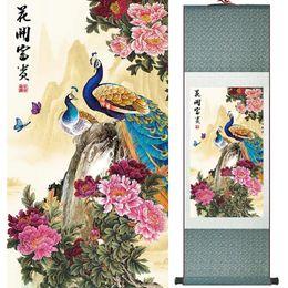 2019 figura de la señora 1 Unidades HD Impreso Peacock Animal Wall Pictures Chino Desplazamiento de Seda Arte de la Pared Poster Imagen Pintura Decoración Del Hogar Decoración de la pared