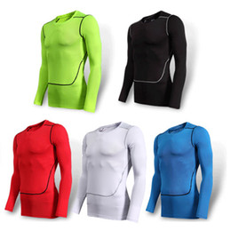 Wholesale Running Man Costume - Wholesale-Men's Sport Compression Shirt Tights Base Layer Fitness Men Running Long Sleeve T Shirt Bodybuilding Clothes Shapers For Men