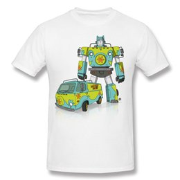 Wholesale Cool Casual Clothes - Mystery Machine men shirt cool robot print free shipping male fine fabric clothing students style boy choose soft tees back to childhood