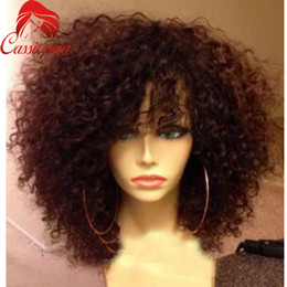 Wholesale Dark Brown Short Curly Wig - Best Short Afro Kinky Curly Wig Virgin Peruvian Lace Front Wig Kinky Curly Glueless Human Hair Full Lace Wig With Bangs Baby Hair