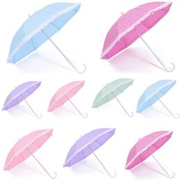 Wholesale Rain Patterns - Manual Lace Bumbershoot Plastic Handle Sunny And Rainy Umbrella Outdoor Rain Proof Round Dot Pattern Umbrellas For Kid Dance Decor 4 6db B