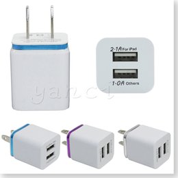 Wholesale Usb Power Adapter For Iphone - High Quality US Plug 5V 2.1 1A Dual USB AC USB Charger Wall Power Adapter for ipad iPhone 6S Plus iphone SE Samsung galaxy S7 S6 Cell Phones
