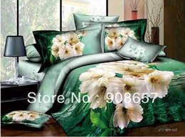 Wholesale Green White Flowered Quilt - cream white flower green leaf pattern bedding girls 500TC cotton quilt duvet covers luxurious full queen comforter set bed sheet