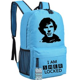 Wholesale Uk Backpack Bags - Blue sherlock backpack UK famous TV play actor detective school bag Sherlocked fans hot sale day pack Quality daypack