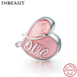 Wholesale pandora pave heart charms - INBEAUT New Design 925 Sterling Silver Charm Fall in Love Pave & Pink Enamel Heart Charms Fit Pandora BraceletJewelry