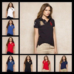 Wholesale Dots Women T Shirts - Top Quality Brand Short Sleeve Women's Polo Shirts Ladies Casual Small Horse Embroidery Polos Slim Oversized Women Shirts Cotton Work T