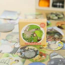 Wholesale Totoro Paper - Wholesale-46 pcs  box cute Totoro mini paper sticker decoration DIY diary scrapbooking seal sticker kawaii stationery