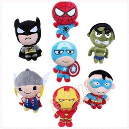"Wholesale Men Stuffs - 7pcs Lot The Avengers 7"" 18cm Iron Man Hulk Thor Spiderman Superman Captain America Plush Doll Stuffed Toy Gifts"
