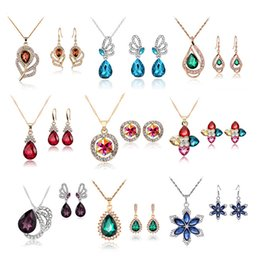 Wholesale Wholesale Fashion Jewelry Austrian Crystal - High quality fashion necklace earrings sets 2016 austrian crystal jewelry sets for women rhinestone jewelry sets