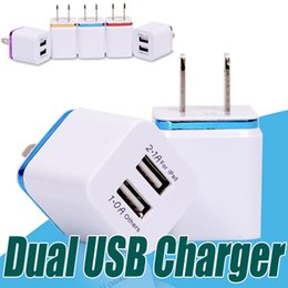 Wholesale Tablet Wall Chargers - Metal Dual USB Wall Charger EU US Plug 2.1A Adapter Charger Plug 2 Port for Samsung galaxy note LG Tablet