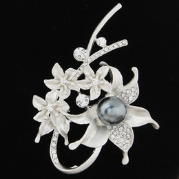 Wholesale Wholesale Rhinestone Flower Brooch - Summer Sale Hot Korean Version Fashion Fine Accessories Jewelry Luxury Pearl Czech Rhinestone Starfish Flowers Charm Brooches Pins For Women