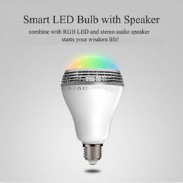 Wholesale Combine Metal - 2017 Lowest price Smart colorful LED bulb with bluetooth speaker combine with RGB LED stereo audio speaker starts your wisdom life