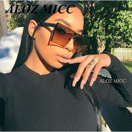 Wholesale Designer Eyeglasses Frames Women - ALOZ MICC Brand Designer Women Square Sunglasses Men's Unique Oversize Shield UV400 Gradient Vintage Eyeglasses Frames For Women A014