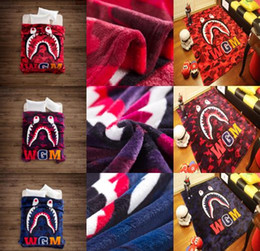 Wholesale Super Soft Bedding - Wholesale Shark Printed Throw Blankets Manta Bathing aape Blanket super Soft Fleece Blankets on the bed Sofa Blanket 130*150cm MFLB31