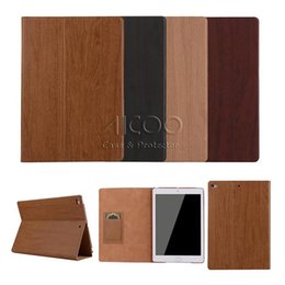 Wholesale Ipad Wood Cases - Full Protect Wood Grain Painted High Quality Leather Smart Flip Cover for iPad 4 5 6 mini 2 3 4 air 1 2 with Retail Package
