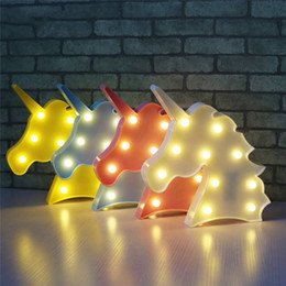gift christmas tree Promo Codes - Cute Unicorn Head Led Night Light Animal Marquee Lamps On Wall For Children Party Bedroom Christmas Decor Kids Gifts