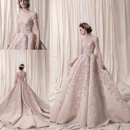 Wholesale Arab Embroidery - Arab Dubai Short Sleeves Ball Gown Heavily Embroidery Wedding Dresses 2018 Krikor Jabotian Bridal Scoop Neckline Wedding Gowns