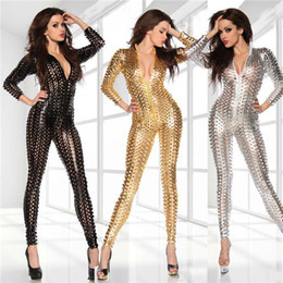 Wholesale White Sexy Catsuit - Women's Black Gold Silver Fetish Full Hole Faux Latex Body Suit Vinyl Jumpsuit Sexy Latex Bodysuit Catsuit Lingerie Dance Wea