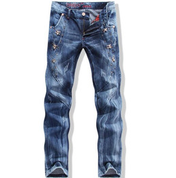 Wholesale Hot Pants Japan - High Quality Ripped Jeans Mens Fashion Brand Designer Skinny Jeans Hot Sale Denim Overalls Men Casual Pants Brand Clothing