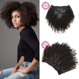 Wholesale African Curly Hair - Mongolian Virgin Hair African American afro kinky curly hair clip in human hair extensions natural black clips ins