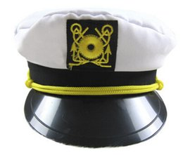 Wholesale Wholesale Navy Uniform - Sexy uniform temptation police hat White Adjustable Skipper Sailors Navy Captain Boating Military Hat Cap Adult Party Fancy Dress Unisex