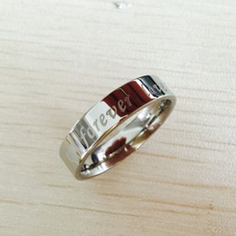 Wholesale China Love Couples - Letter engagement alliance 316L stainless steel Lovers, promise FOREVER LOVE Couple Rings For men and women USA 6-14