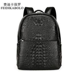 Wholesale Vintage Medium - FEIDIKABOLO Fashion PU Crocodile Men's Backpack Male Leather Backpacks High Quality Student Bag Men Rucksack Bagpack mochila