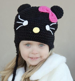 Wholesale Crochet Toddler Beanie Pattern - Crochet Pattern Cat Hat Children Newborn Infant Toddler Knitted Hat Winter Girls Kitty Beanie Earflaps Hallowmas Christmas Caps 100% Cotton