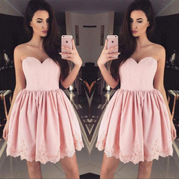 Wholesale Homecoming Dress Ball Gown Sweetheart - Modern Ball Gown Lace Short Homecoming Dresses Pink 2018 Sweetheart Cocktail Gowns Party Graduation Dress BA6855